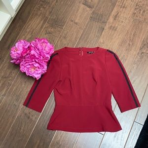 FEMME - Red Fitted Peplum Top.
